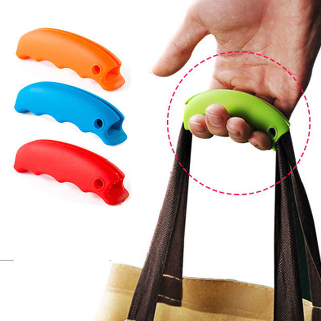 Portable Silicone Mention Dish For Ping Bag To Protect Hands Trip Grocery Holder Handle Carrier