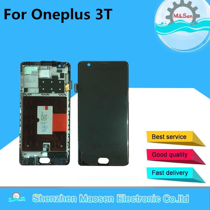 M & Sen Amoled Para Oneplus 3 t A3010 LCD screen Display + Touch panel Digitador com moldura Preta/ branco frete grátis