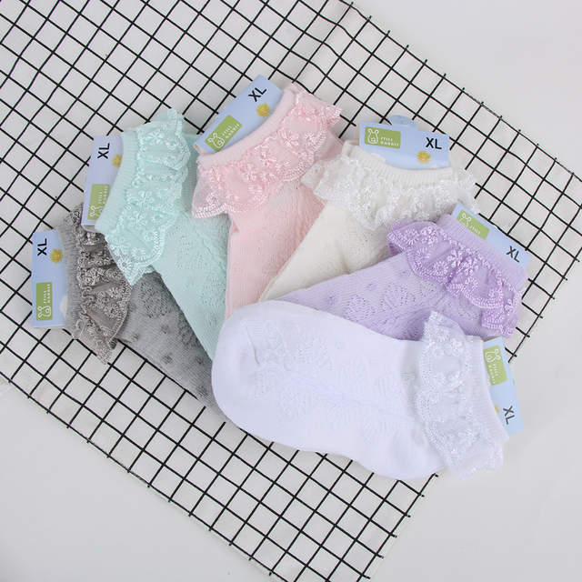 d6e2baf703dda US $1.35 |1 Pair New Hot Sale Baby Girls Ankle Socks Newborn Spanish  Elastic Cotton Blend Lace Anti Slip Ankle Knitted Stocks-in Socks from  Mother & ...