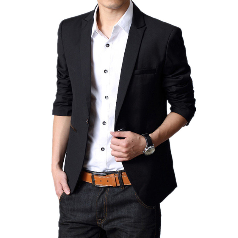 Men Casual Slim Fit Blazer Black Suits Jacket Men Outwear ...