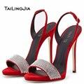 Красный Черный Щепка Высокий Каблук Сандалии для Женщин Открытым Носком Шпильках Горный Хрусталь Украшения Обувь Сексуальная Партия Обуви Вечерние Каблуки