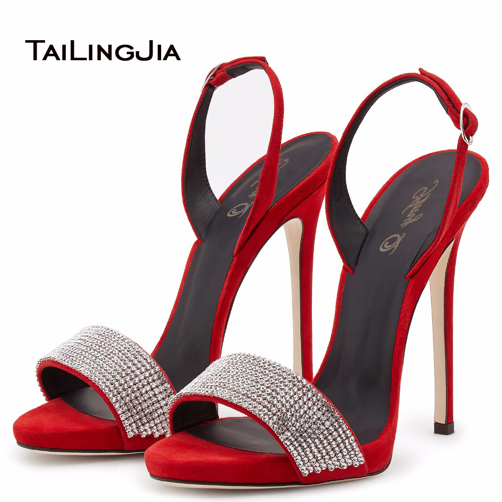 ФОТО Red Black Sliver High Heel Sandals for Women Open Toe Stilettos Rhinestone Decorations Shoes Sexy Party Shoes Evening Heels