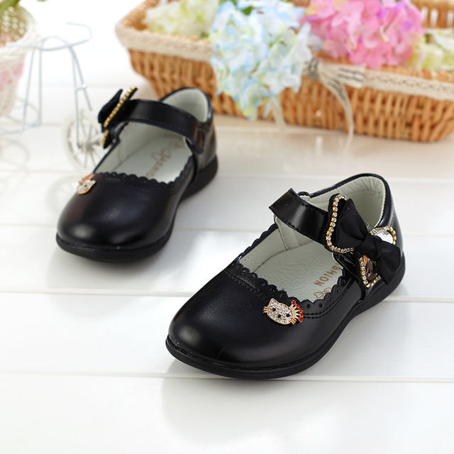 Spring/Autumn Girls Children Leather Shoes Kids Fashion Princess Shoes With Bow Student Shoes Square Mouth Leather Single Shoes