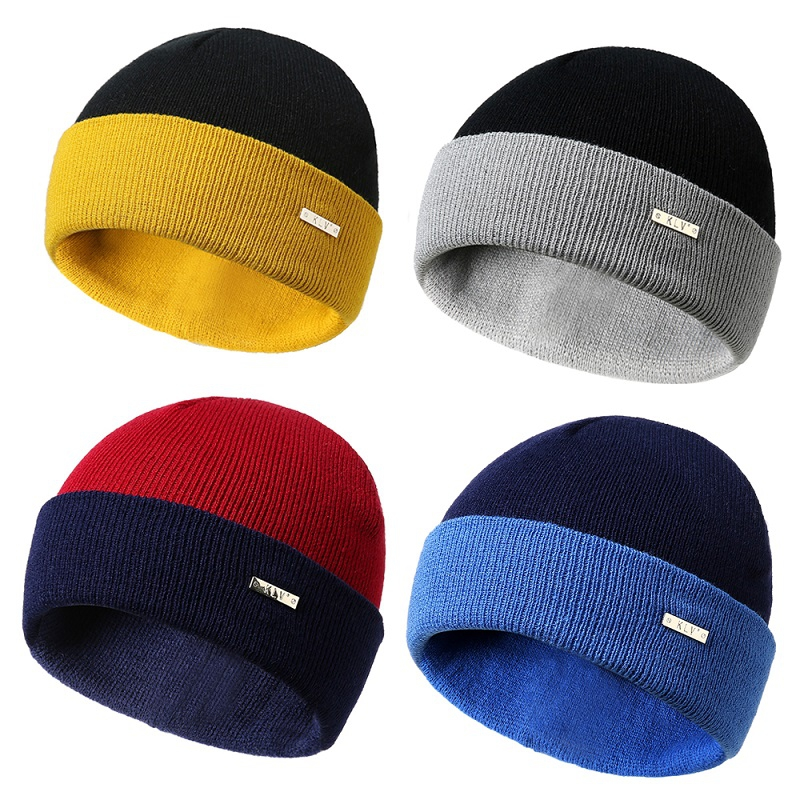 2018 Unisex Knitting Hats Fashion Patchwork Thicken Warm Hats for Autumn Winter New Arrival   Skullies     Beanies   T8