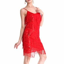 Six Colors Women Latin Tango Dance Dress Spandex Fabric Tassel Sequins Sleeveless Latin Skirt Costume MO16