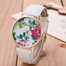 Fashion Rose Printed Geneva Watches Women Creative Flower Leather Strap Quartz Watch Women Dress Wrist Watches Relogio Feminino