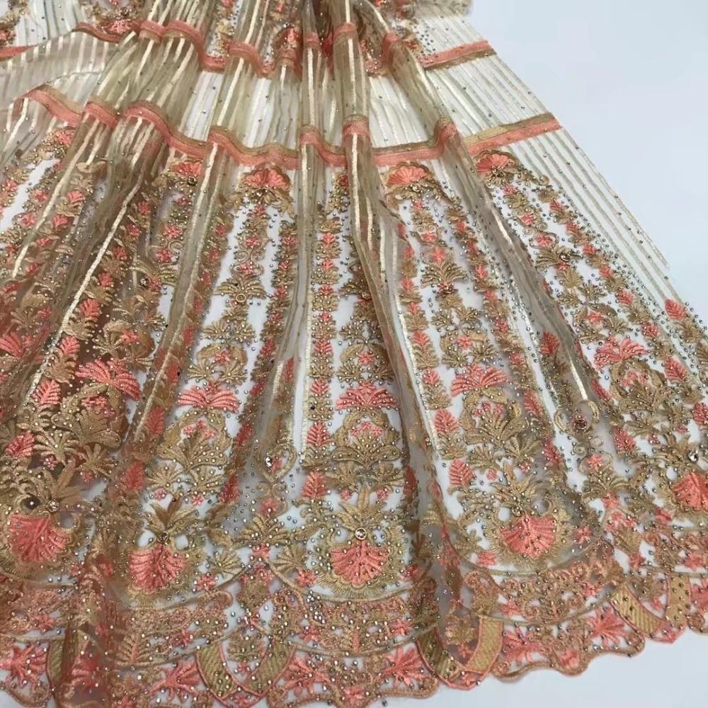 Ev ve Bahçe'ten Dantel'de Yeni gelenler 2018 şeftali nakışlı ağ dantel kumaş sıcak satış afrika fransız dantel kumaş ile taşlar için düğün elbisesi JY5 2'da  Grup 2