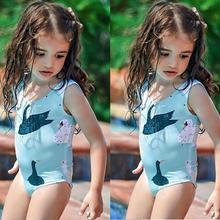 Детская одежда для купания для девочек; одежда для купания для маленьких девочек; цельный купальник без рукавов с рисунком лебедя; kxyz bebek mayo A1