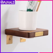 Toothbrush Holder Wall Mounted Glass Cup Tumbler Holder Brass Wood Bathroom Accessories Tooth Brush Holder Set Nordic Style european style double cup holder toothbrush holder with ceramic cups antique brass solid brass rack tumbler holder wall mounted