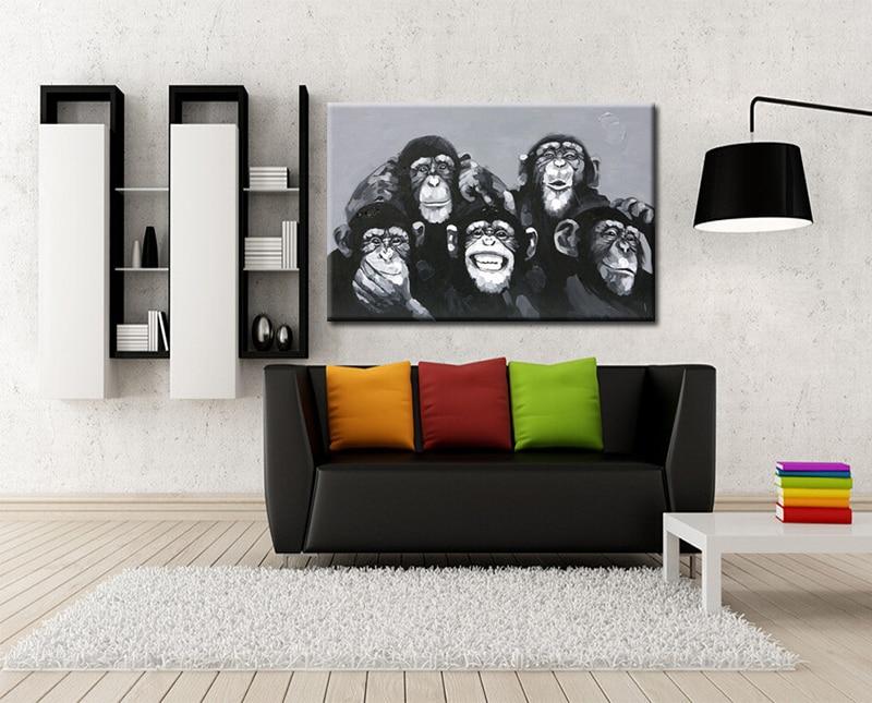 Əl Boyalı Müasir Abstrakt Akrilik Heyvan Yağlı Boyama Kətan - Ev dekoru - Fotoqrafiya 3