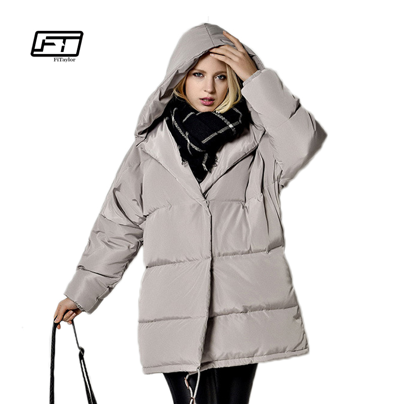 Fitaylor 2017 New Women Winter Jacket Warm Hooded Parkas Female Overcoat Outerwear White Duck Down Loose Coat Casual Mujer Parka fitaylor women winter jacket 2017 new warm parkas female overcoat outerwear hooded cotton coat plus size long thick parka