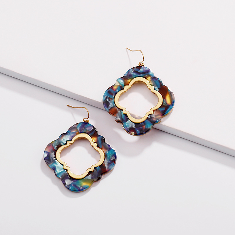 2018 Fashion Gold Acetate Clover Earrings for Women Korean Acrylic Earrings Jewelry Thanksgiving Day Gifts Wholesale