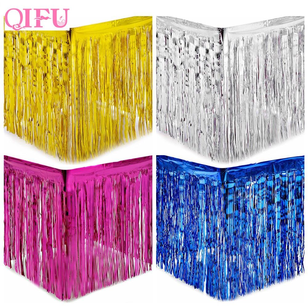 QIFU Gold Foil Fringe Table Skirt Metallic Tinsel Curtain Silver Tassel Garlands Rustic Wedding Decoration Birthday Party Decor