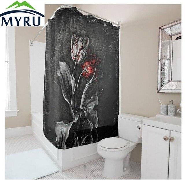 MYRU Europese stijl creatieve zwart douchegordijn rose douchegordijn ...