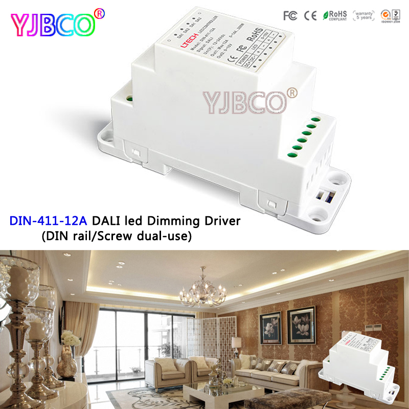 DIN-411-12A DALI to PWM CV Dimming Driver(DIN rail/Screw dual-use);DC12-24V input;12A*1CH output for led light din 411 12a dali to pwm cv dimming driver din rail screw dual use dc12 24v input 12a 1ch 0 10v 1ch output