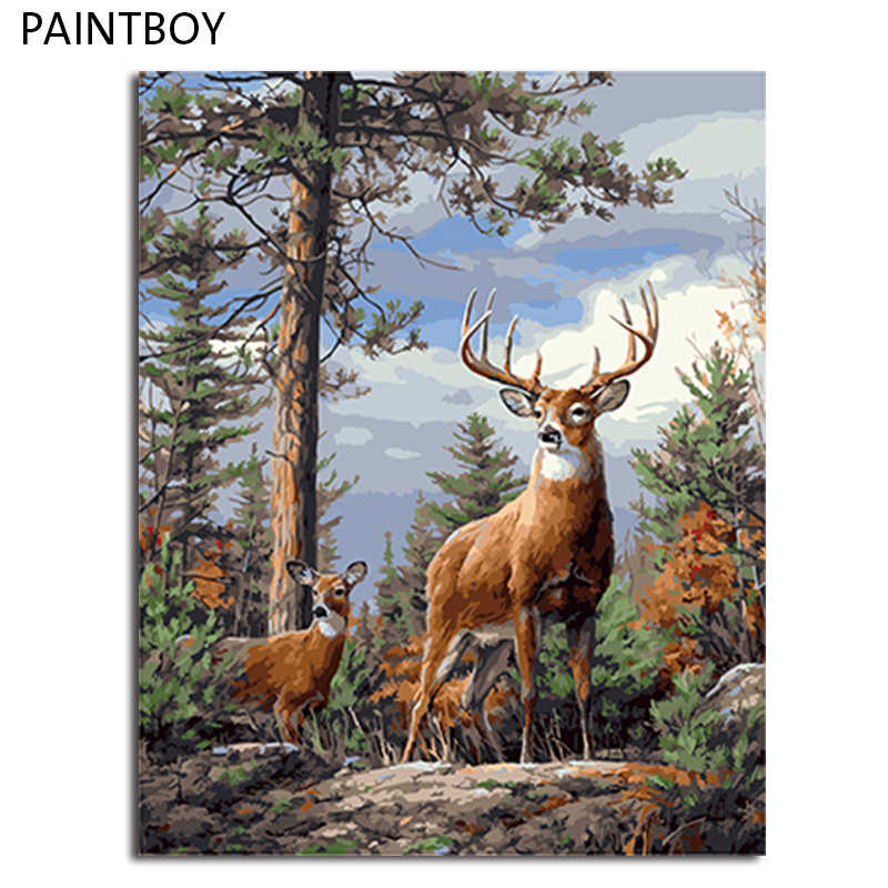 PAINTBOY Framed Pictures Painting By Numbers of Animal Handwork Canvas Oil Painting Home Decor For Living Room