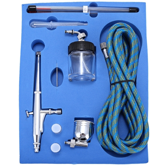 Air Compressor Kit Craft Cake Paint Art Spray Gun Set Portable 0.2mm / 0.3mm / 0.5mm Dual Action Airbrush