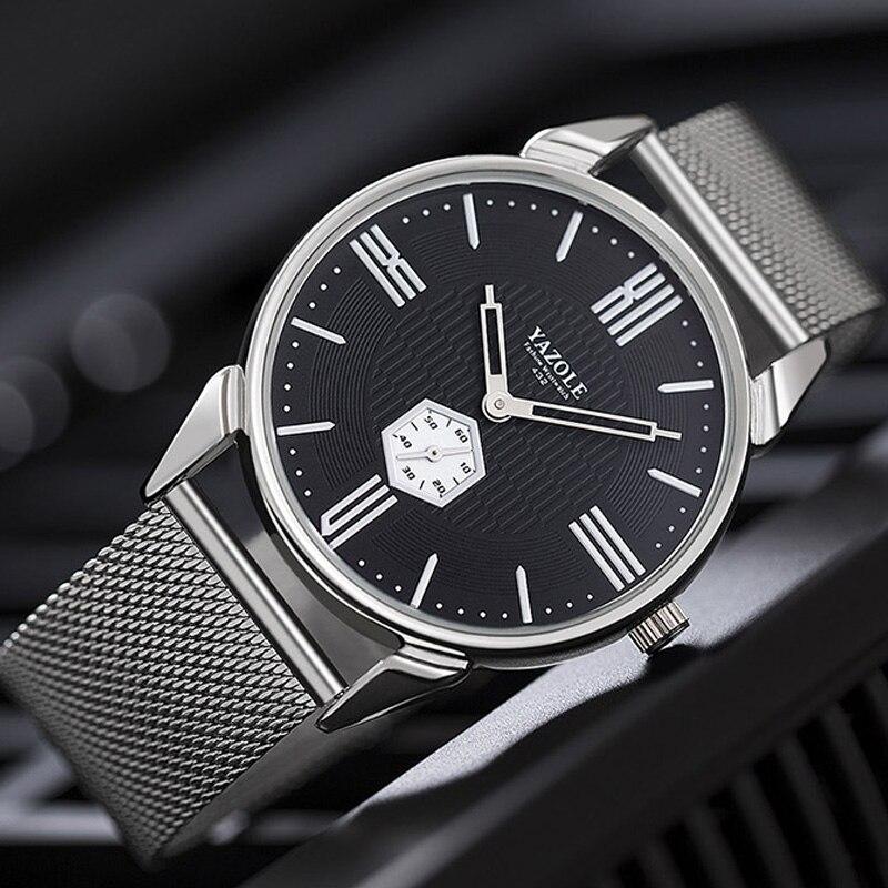 YAZOLE 2018 Neue Uhr Männer Top Marke Luxus Edelstahl Handgelenk Uhren Für Männer Männlichen Uhr Quarz Armbanduhr Relogio Masculino
