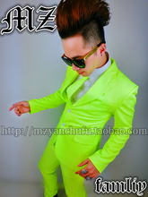 Men Fashion Skinny Neon Suits Lemon Green Costume Blazer Pants Clothing Set Male Singer Dancer Stage Performance Wear Outfit