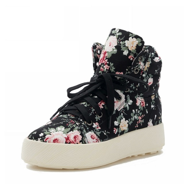 STAN SHARK High-top Sneakers PU Shoes Women Casual Shoes White Flat Female Basket Lace Up Solid Trainers Floral Shoes