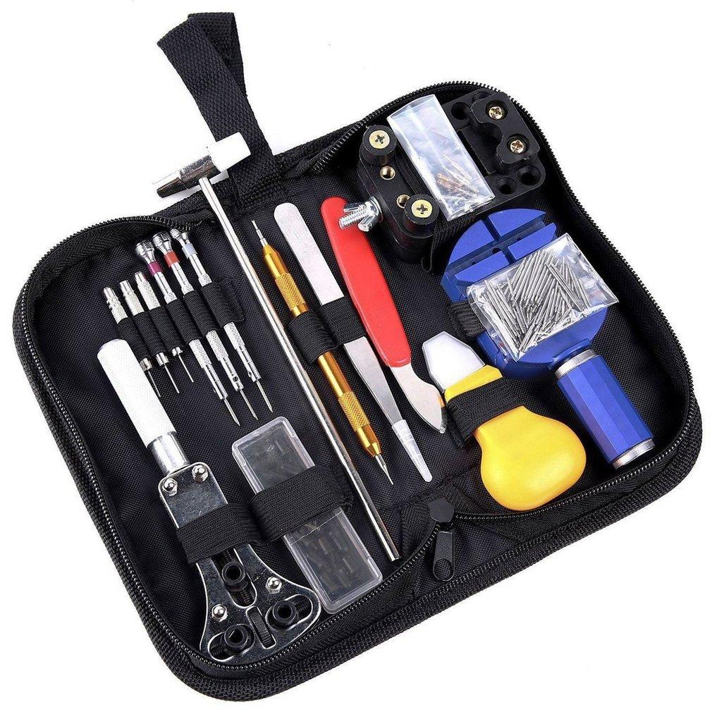 Kit de herramientas de reparación de relojes de 147 Uds. Con estuche de transporte conjunto de instrumentos de barra removedor de eslabones para abridor de reloj profesional
