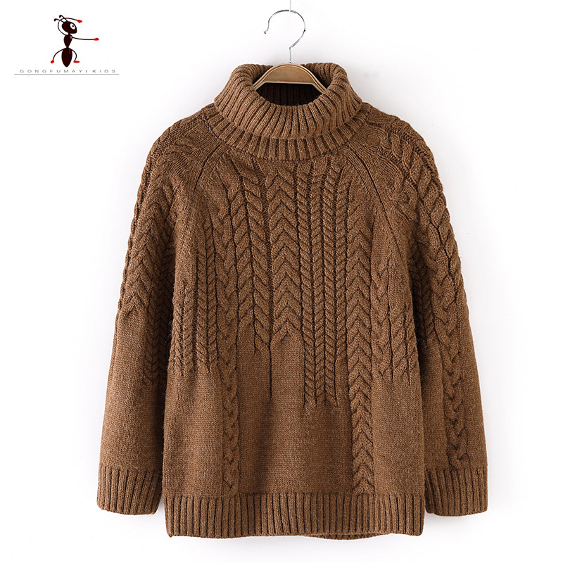 2018 Kung Fu Ant Casual Style Winter Autumn Knitted Turtleneck Boys Sweaters for Hot Students 5T-12T Solid Color Woolen Clothes chic quality casual style solid color cotton pattern knitted blanket