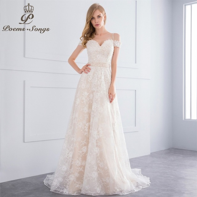 Lace Wedding Dress with Colored Flowers