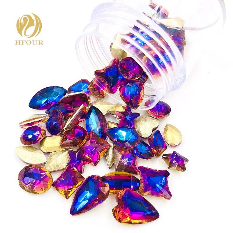 New arrival Purple blue light pointback glass crystal rhinestones Mixed shape Mixed size 20pcs/50pcs DIY nail art Accessories