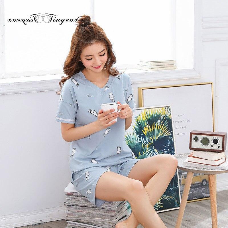 Tinyear Summer 100% Cotton Clothes for Women Stylish Catoon Print Round neck Ladies Sleepwear PJS M-2XL ...