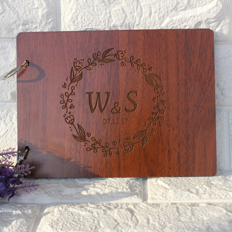 Wooden Wedding Guest Book,Personalized Wedding Guestbook,Custom Initials Anniversary Sign Book,Rustic Photo Album,Wedding Decor