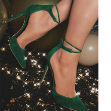 women thin high sandals green suede pointed toe concise stiletto heel pumps ankle strap sexy fashion banquet shoes handmade christmas green emerald suede sheet leather heel greenery wedding shoes with knot open toe ankle strap d orsay pumps
