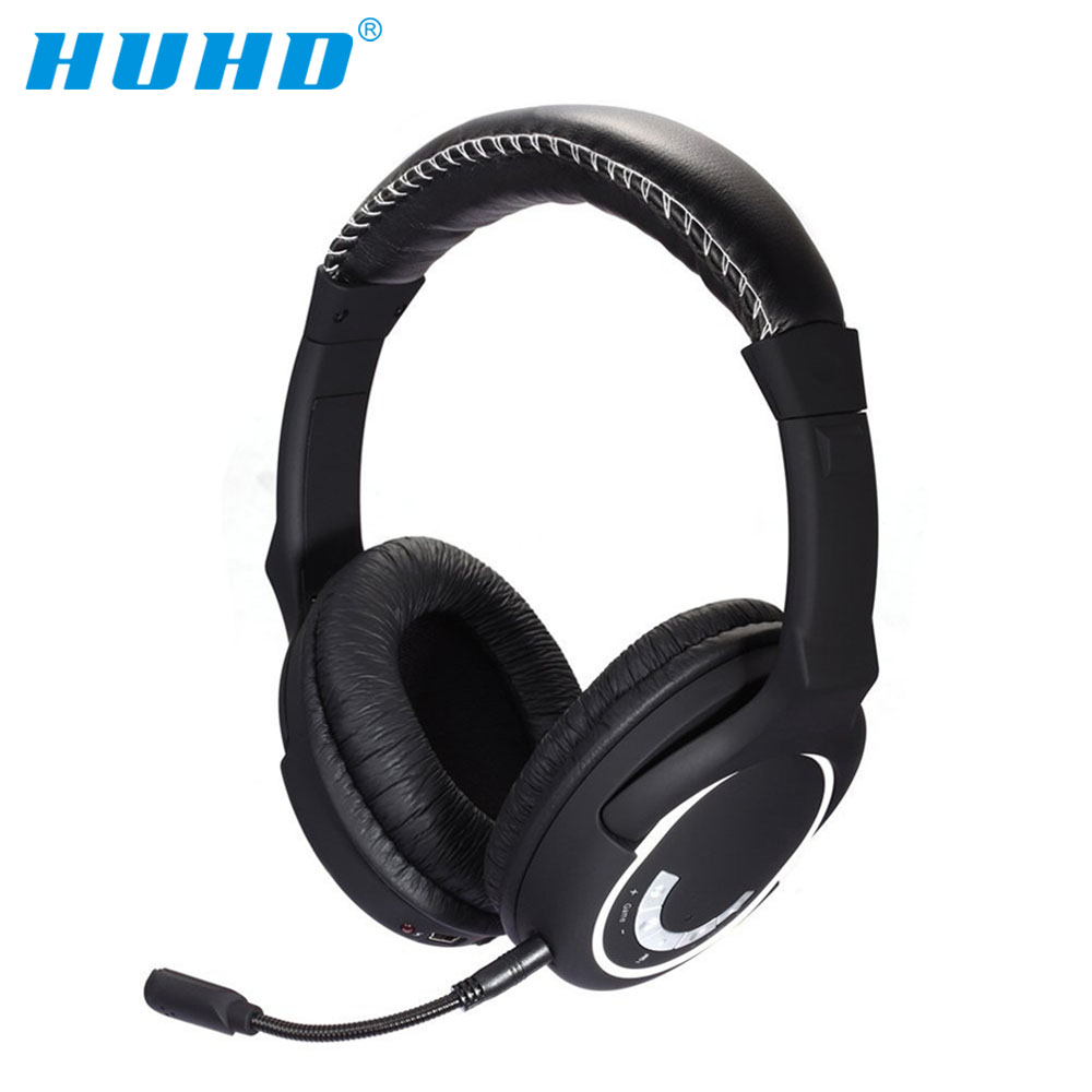 HUHD HW-390M 2.4Ghz Wireless Gaming Headset Stereo Sound for PS4, PS3, Xbox 360 and PC Detachable Microphone Noise Cancelling huhd 2 4ghz fiber optical wireless gaming headphones for xbox 360 xbox one ps4 pc black