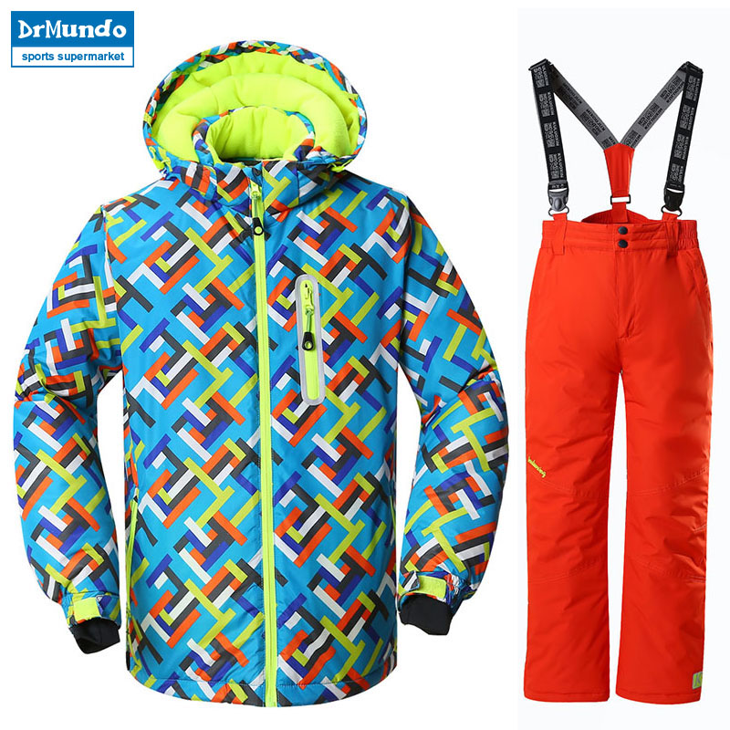 Boys Ski Jacket Children Waterproof Windproof Clothing Kids Ski Set Winter Warm Snowboard Outdoor Ski Suit Boys Ski Set hot winter beanie knit crochet ski hat plicate baggy oversized slouch unisex cap
