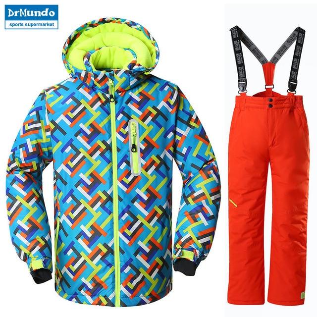 91ac2e1c8 Boys Ski Jacket Children Waterproof Windproof Clothing Kids Ski Set Winter  Warm Snowboard Outdoor Ski Suit Boys Ski Set