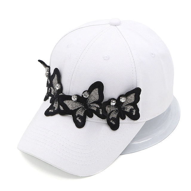 GZHilovingL Solid Cotton Butterfly Baseball Caps S Ladies Summer Autumn Adjustable Snapback Hip Hop Caps