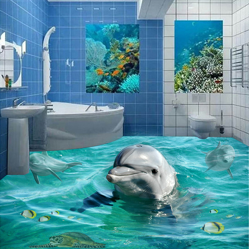 Customized Any Size Photo Wallpaper Cute Dolphin Bathroom Floor Self-adhesive PVC Waterproof Wallpaper Mural For Living Room