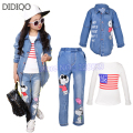 Children sports suit autumn girls clothing set  kids denim coat  & long sleeve t shirt & jeans 3 pcs china clothes free shipping