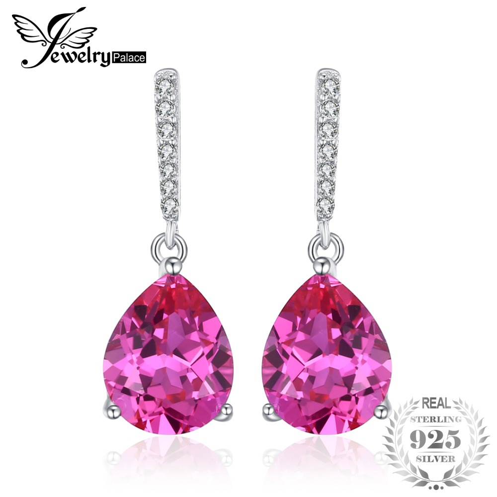 JewelryPalace Luxury 7ct Created Pink Sapphire Drop Earrings 925 Sterling Silver Fine Jewelry Water Drop Earrings For Women Gift jewelrypalace new 1 3ct pear created alexandrite sapphire water drop earrings 925 sterling silver fashion fine jewelry for women