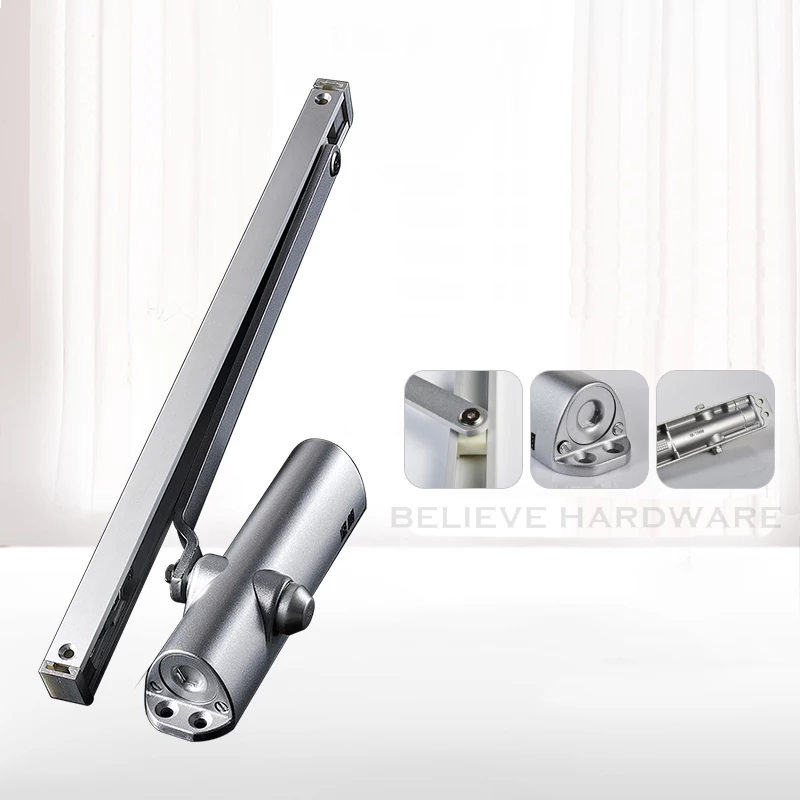 Back Check Door Closer Silver Color Hydraulic For Wooden/Metal Doors WM02701 commercial door closer 65 85kgs silver aluminium alloy for stainless fireproof iron doors
