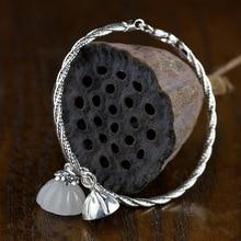 2018 Elegant Natural Jade 100% 925 Sterling Silver Charm Bracelets & Bangles Original Design  Bracelet Jewelry Gift For Women