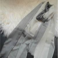 100% de Cachemira Gris Claro Bufanda Abrigo de La Manera de Las Mujeres Delgadas de Alta Calidad Natural de Tela Extra Suave Cálido 9-15Days Entregado
