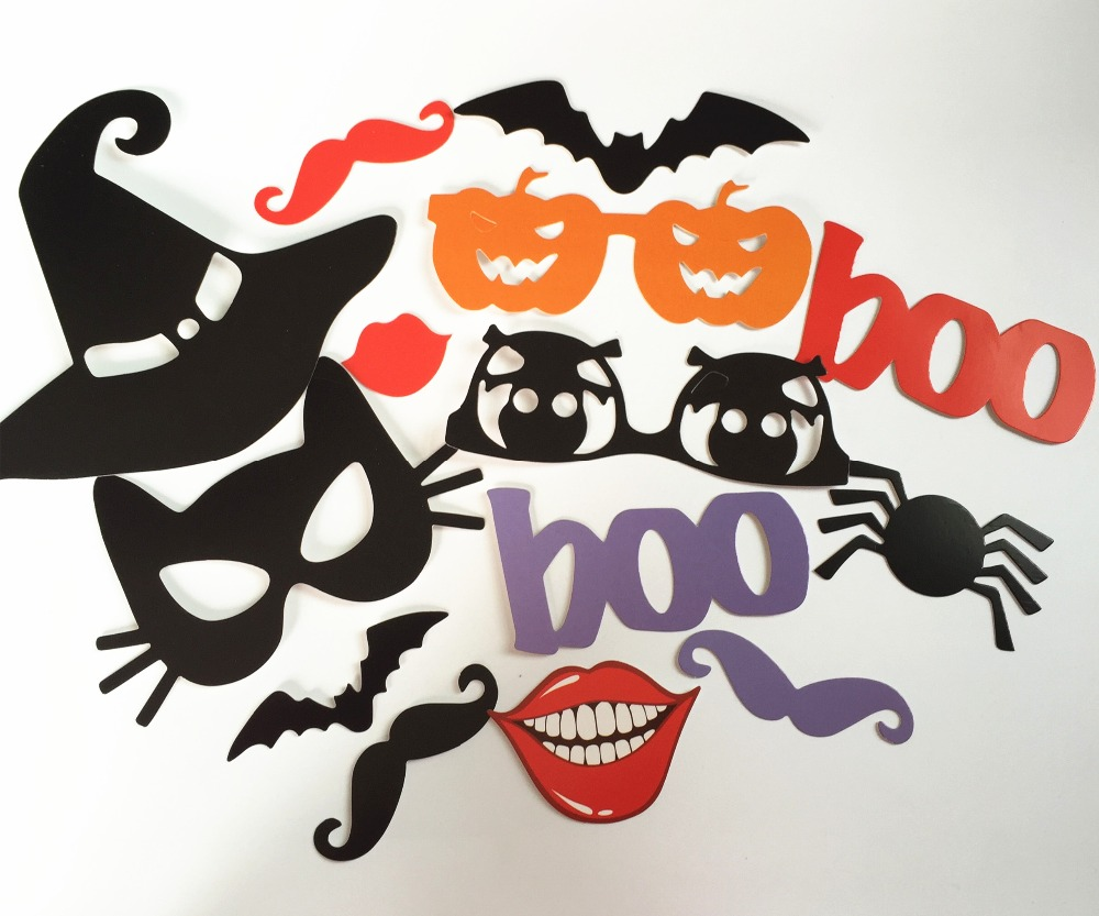 14 pieces halloween party decoration kits boo bat photo props with sticks masks wholesale