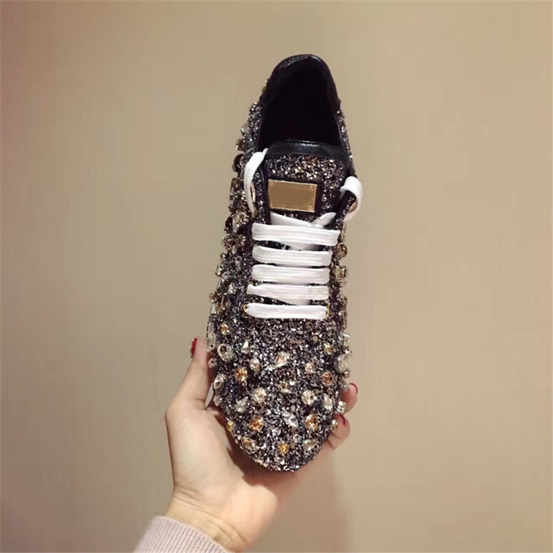 Prova Perfetto strass baskets femmes chaussures lacets Paillette sort couleur chaussures plates cuir casual chaussures zapatillas mujer - 2
