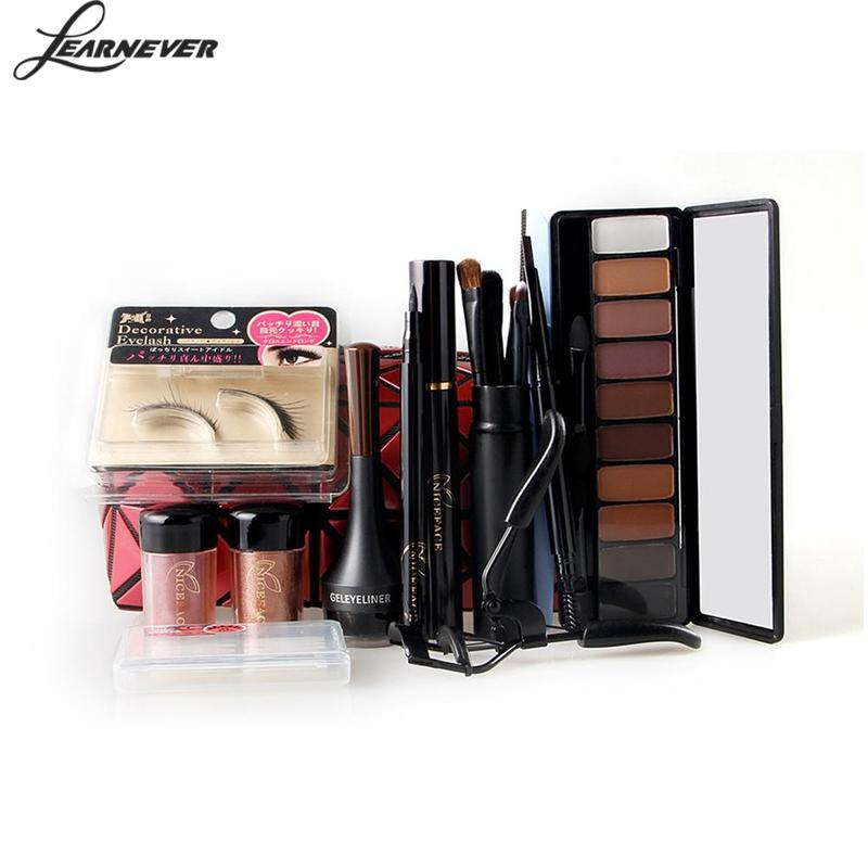 13PCS Christmas Gift Makeup Set Eye Shadow Palette Fake Eyelashes Curler Brush Mascara E ...