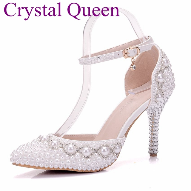 c88de7aa50f9 Crystal Queen wedding heels White pearls rhinestone wedding shoes high  heels thin heels shoes pointed toe bridal pumps sandals