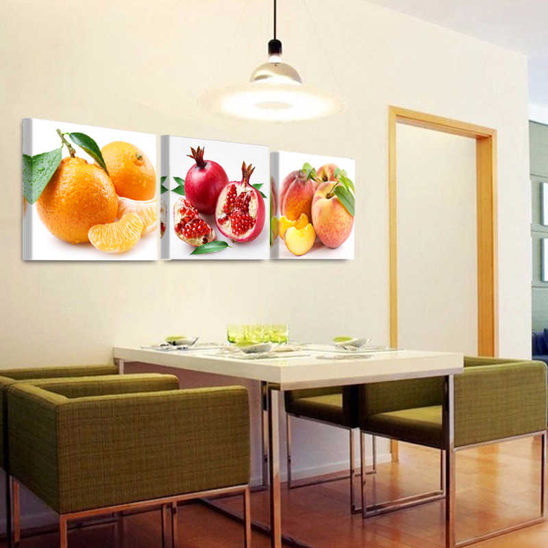 Nordic Fruit Living Room And Kitchen Decorative Canvas Painting 3 Pieces Of  Wall Picture Art Decoration Q25
