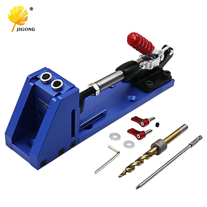 Guia de carpintaria Carpinteiro Sistema Kit Sistema de Kit de ferramentas de perfuração base de braçadeira Broca buraco inclinado Bolso Buraco Kit Jig