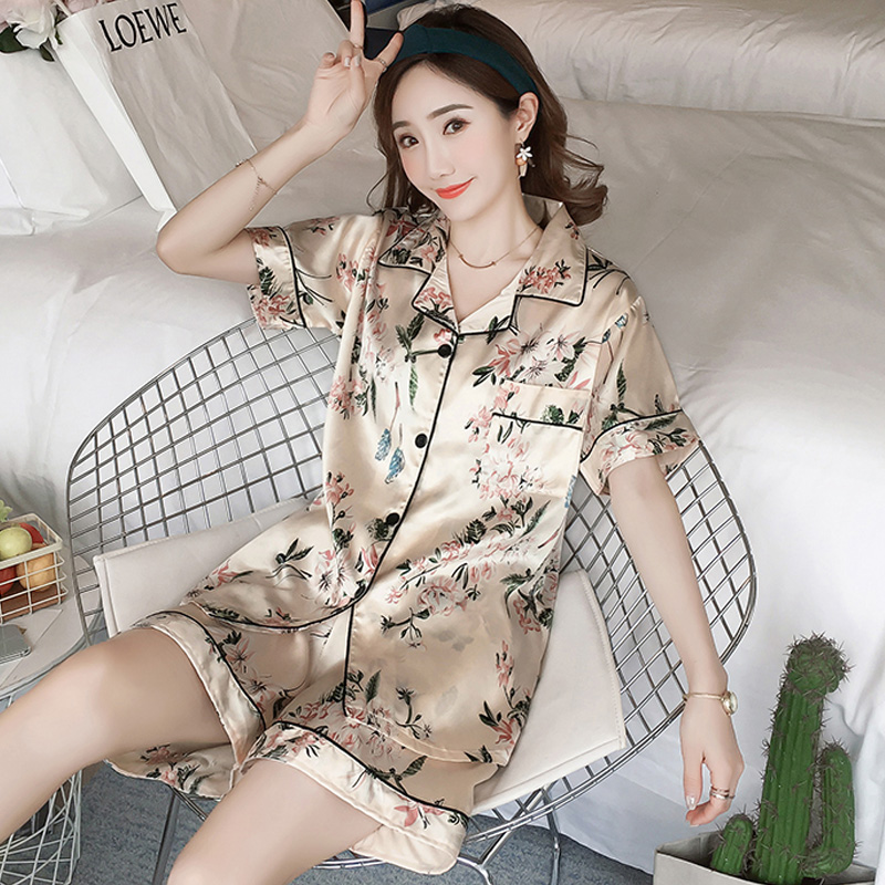 Summer Silk   Pajamas   for Women Short Length Ladies Silk Pyjama high quality printing Sleepwear   Set   Plus Size 3XL 4XL   pajama     set