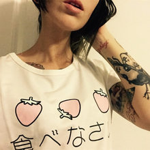 Sudaderas Mujer Summer Lolita Kawaii Clothing Strawberry Cotton Lovely T-shirt Blusa Peplum Tops Harajuku Shirt Kpop Moletom