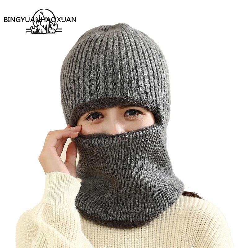 BINGYUANHAOXUAN Hot Selling Multi Functional Knit Cap Balaclava Mask Winter Wool Hats Adult Men and Women Beanies Thick Mask